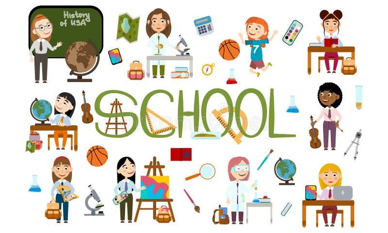 Ένα σύνολο κοριτσιών στο σχολείο Σπουδαστής στα διαφορετικά μαθήματα ελεύθερη απεικόνιση δικαιώματος