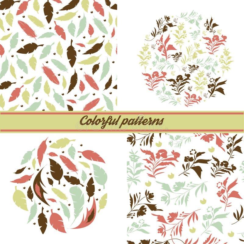 Ένα σύνολο λεπτών floral σχεδίων και εμβλημάτων σε ένα άσπρο υπόβαθρο με τα floral στοιχεία και διακοσμητικός διανυσματική απεικόνιση