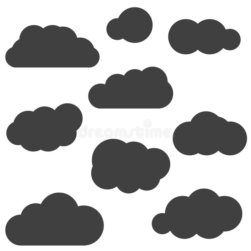 Ένα σύνολο μαύρων εικονιδίων σύννεφων σε ένα καθιερώνον τη μόδα επίπεδο θέμα που απομονώνεται από ελεύθερη απεικόνιση δικαιώματος