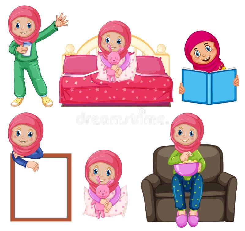 Ένα σύνολο μουσουλμανικού κοριτσιού και δραστηριότητας διανυσματική απεικόνιση