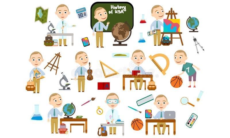 Ένα σύνολο ξανθού σχολικού σπουδαστή αγοριών με ένα σύντομο κούρεμα Σπουδαστής στα διαφορετικά μαθήματα διανυσματική απεικόνιση