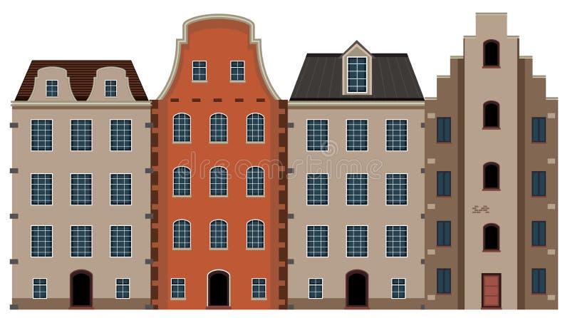 Ένα σύνολο ολλανδικής αρχιτεκτονικής σπιτιών διανυσματική απεικόνιση