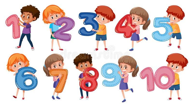 Ένα σύνολο παιδιών και αριθμού απεικόνιση αποθεμάτων