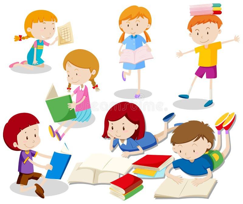 Ένα σύνολο παιδιών που διαβάζουν το βιβλίο απεικόνιση αποθεμάτων
