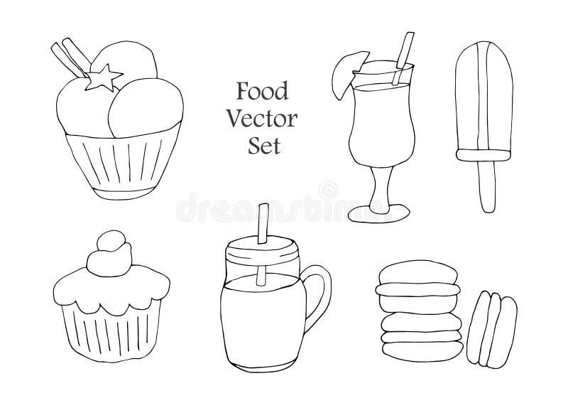 Ένα σύνολο ποτών, ζυμών και γλυκών Στοιχεία που απομονώνονται στο λευκό για τις επιλογές εστιατορίων και καφέδων o ελεύθερη απεικόνιση δικαιώματος