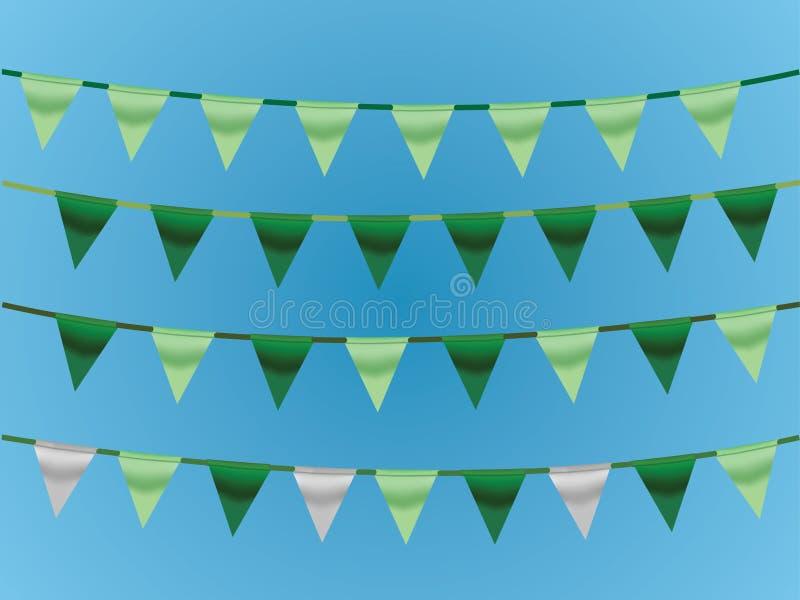 Ένα σύνολο πράσινων κορδελλών στο σχοινί στο μπλε υπόβαθρο για το σχεδιασμό του σπιτιού και του γραφείου απεικόνιση αποθεμάτων