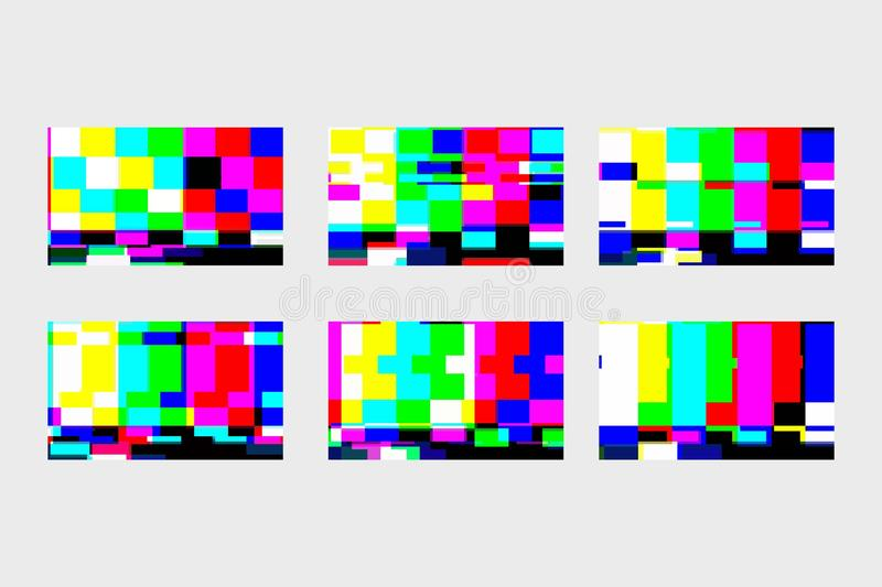 Ένα σύνολο στατικών δυσλειτουργιών Καμία TV σημάτων Οθόνη TV Τέλος του VHS κινηματογράφων Ψηφιακή διαστρέβλωση δυσλειτουργίας επί απεικόνιση αποθεμάτων