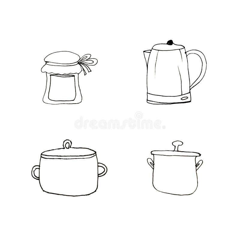 Ένα σύνολο στοιχείων για την κουζίνα Εργαλεία κουζινών σε ένα απομονωμένο άσπρο υπόβαθρο o Συρμένος από ένα μαύρο σκάφος της γραμ στοκ εικόνες
