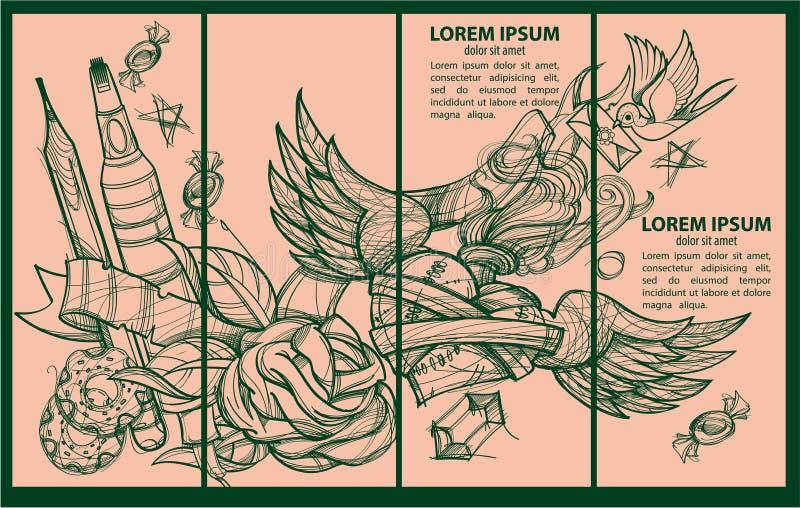 Ένα σύνολο τεσσάρων προτύπων εμβλημάτων Φάκελος, μολύβι, donuts, δείκτης, καρδιά με τα φτερά και τα λουλούδια Σχεδιασμός για το χ απεικόνιση αποθεμάτων