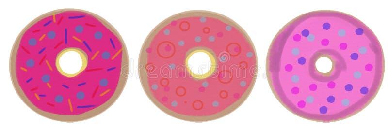 Ένα σύνολο τριών donuts με τη ρόδινη τήξη απεικόνιση ράστερ για το σχέδιο ελεύθερη απεικόνιση δικαιώματος
