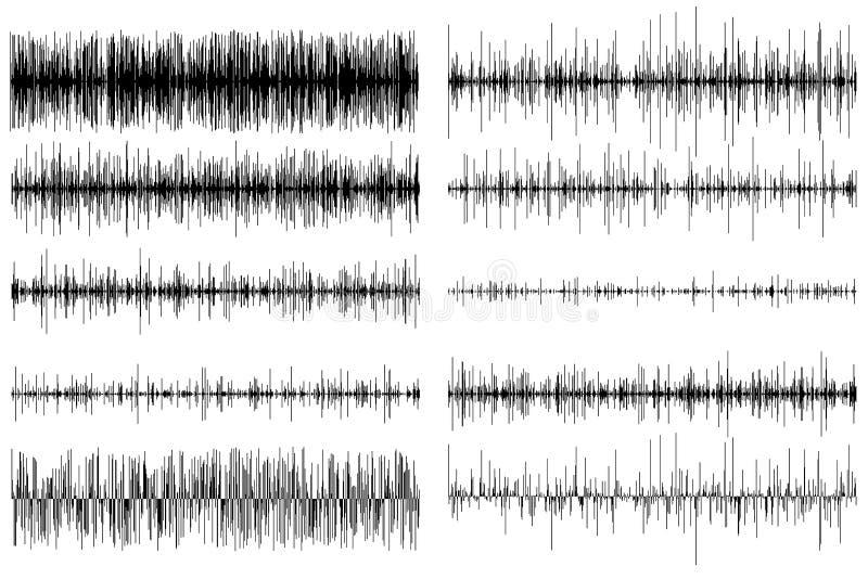 Ένα σύνολο υγιών εξισωτών Υγιές κύμα ραδιόφωνο επίσης corel σύρετε το διάνυσμα απεικόνισης απεικόνιση αποθεμάτων