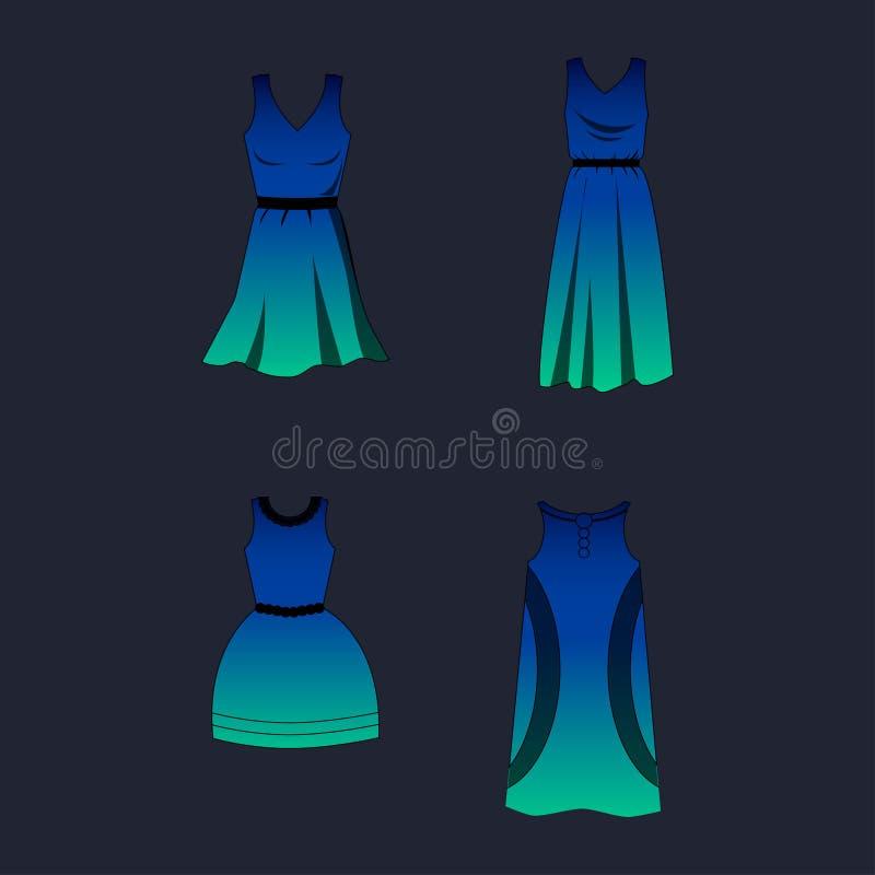 Ένα σύνολο φορεμάτων των διαφορετικών μορφών με την κλίση που σκιάζει το μεσημέρι Με το μαύρο κτύπημα ελεύθερη απεικόνιση δικαιώματος