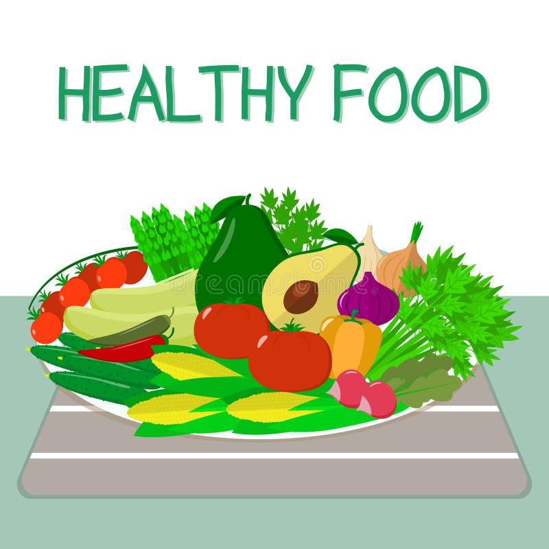 Ένα σύνολο φρέσκων, οργανικών λαχανικών σε ένα άσπρο πιάτο σε έναν πίνακα με μια ριγωτή πετσέτα τρόφιμα υγιή ελεύθερη απεικόνιση δικαιώματος