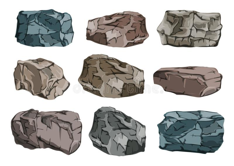 Ένα σύνολο φραγμών πετρών Βαριές, ογκώδεις δυσλειτουργίες γρανίτη διανυσματική απεικόνιση