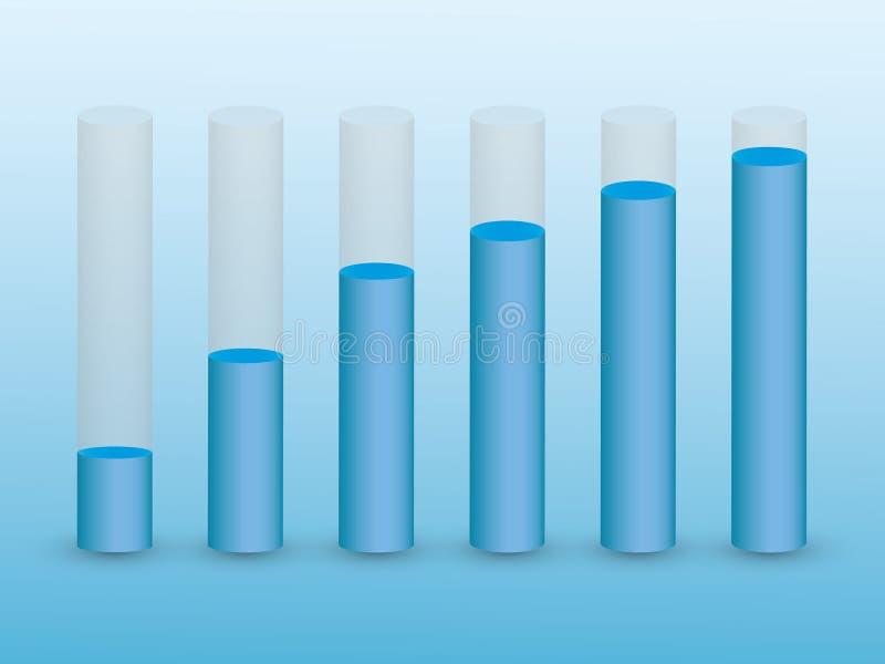 Ένα σύνολο φραγμών σωλήνων με τις μπλε στάθμες ύδατος για να παρουσιάσει την οικονομική ανάπτυξη και επιτυχία στην επιχείρηση διανυσματική απεικόνιση