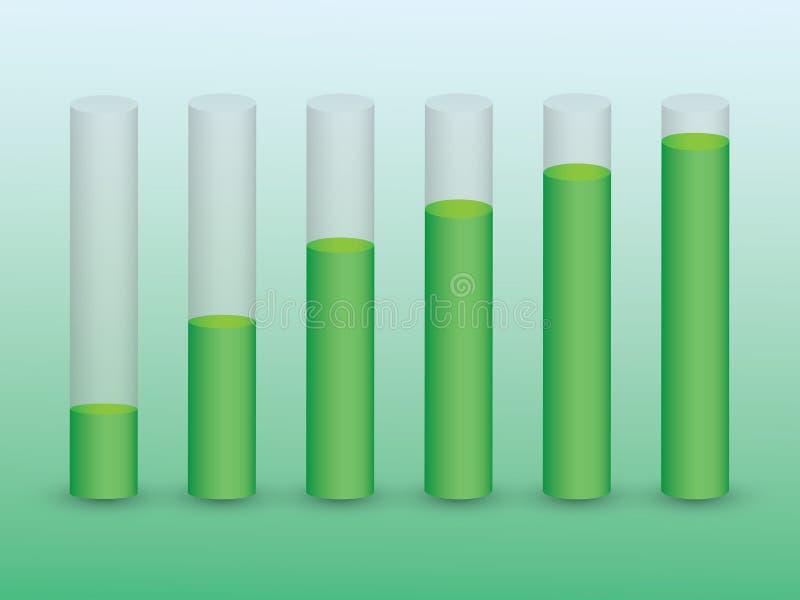 Ένα σύνολο φραγμών σωλήνων με τις πράσινες στάθμες ύδατος για να παρουσιάσει την οικονομική ανάπτυξη και επιτυχία στην επιχείρηση απεικόνιση αποθεμάτων
