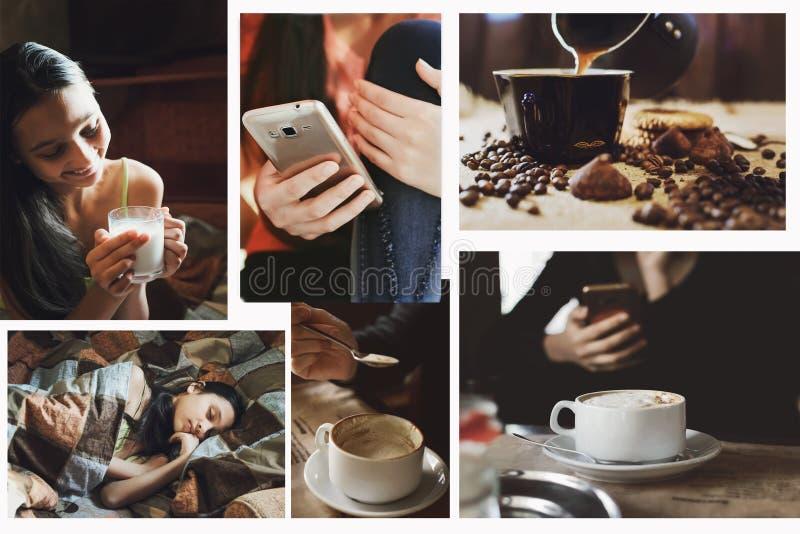 Ένα σύνολο φωτογραφιών της έννοιας του τρόπου ζωής, στο ύφος του instagram στοκ φωτογραφίες με δικαίωμα ελεύθερης χρήσης