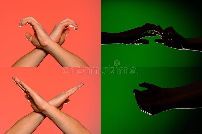 Ένα σύνολο χαρακτήρων στα δάχτυλα των ανθρώπινων χεριών που απεικονίζ στοκ φωτογραφία με δικαίωμα ελεύθερης χρήσης