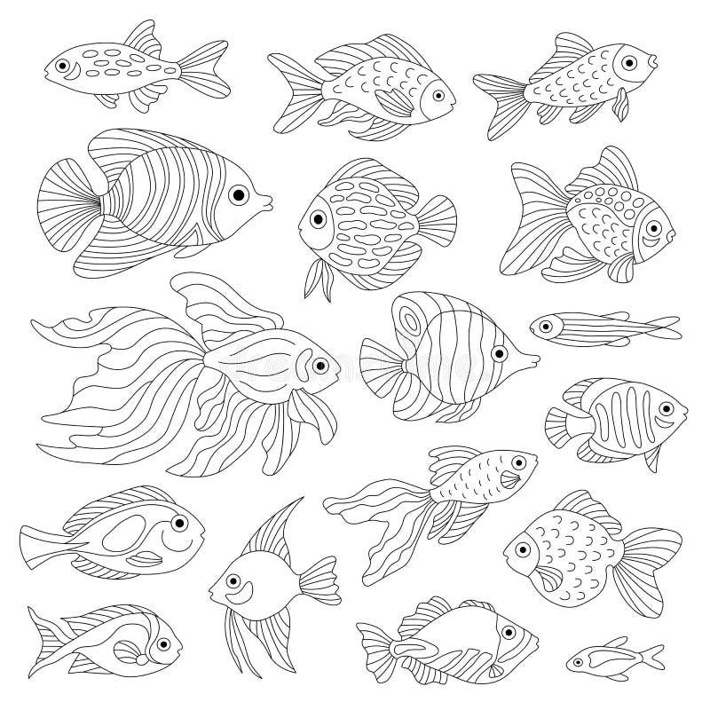 Ένα σύνολο χαριτωμένων ψαριών ελεύθερη απεικόνιση δικαιώματος