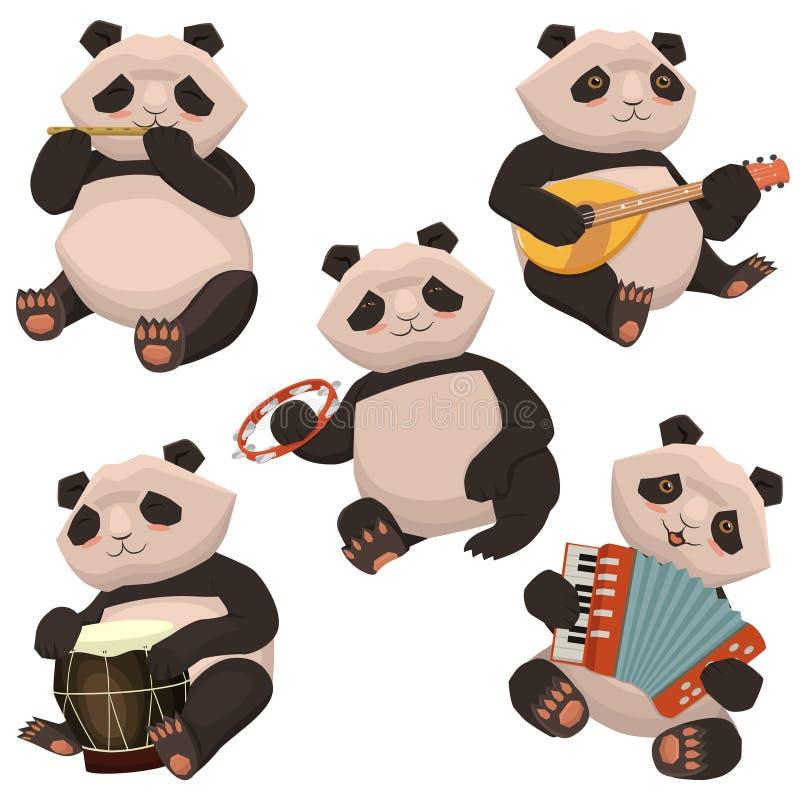 Ένα σύνολο pandas που παίζει τα μουσικά όργανα Εικόνα που απομονώνεται στο άσπρο υπόβαθρο r απεικόνιση αποθεμάτων