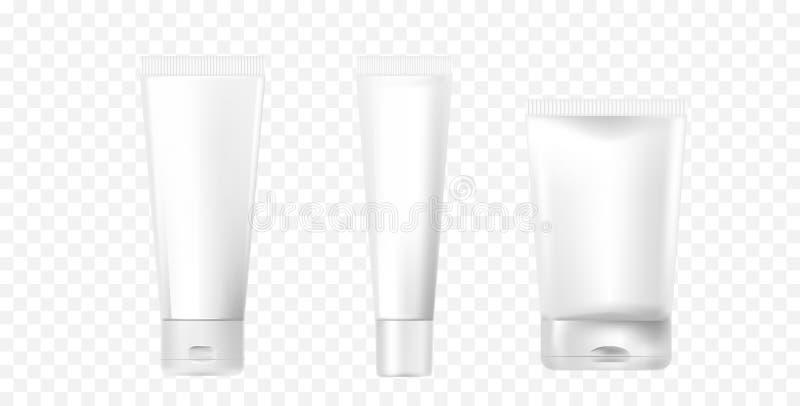 Ένα σύνολο photorealistic άσπρων καλλυντικών σωλήνων Σωλήνες προτύπων για το σχέδιο καλλυντικών τρισδιάστατο διάνυσμα απ&e απεικόνιση αποθεμάτων
