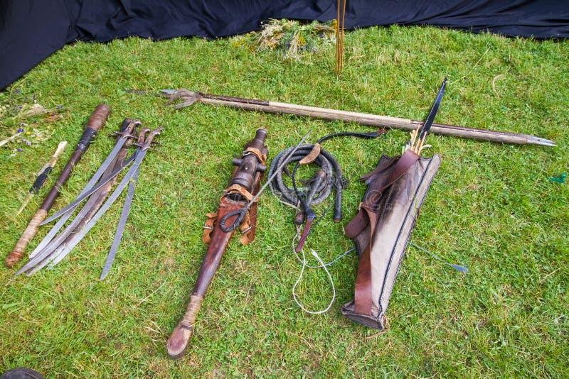 Ένα σύνολο Zaporozhian Sich cossack, kozak, δημοφιλή όπλα, ακριβή αντίγραφα του αρχαίου νεκρικού όπλου στοκ φωτογραφίες με δικαίωμα ελεύθερης χρήσης