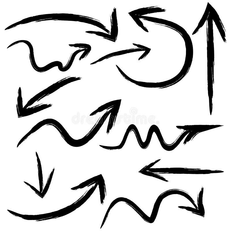 Ένα σύνολο βελών, δείκτες απεικόνισε τα κτυπήματα βουρτσών 12 EL διανυσματική απεικόνιση