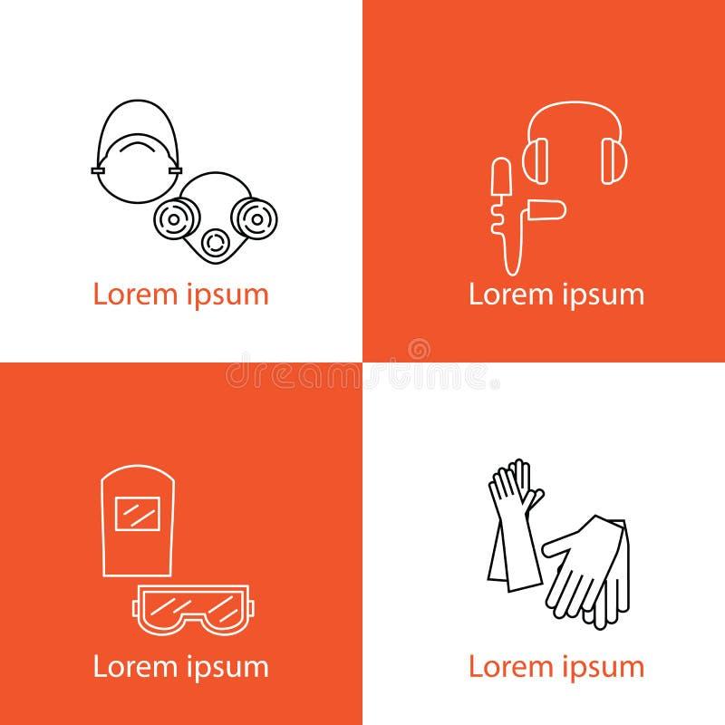 Ένα σύνολο μεμονωμένων λογότυπων προστασίας Προστασία ματιών, ακρόαση, αναπνοή, χέρια Εξοπλισμός και ανθρώπινες υγείες προστασίας ελεύθερη απεικόνιση δικαιώματος
