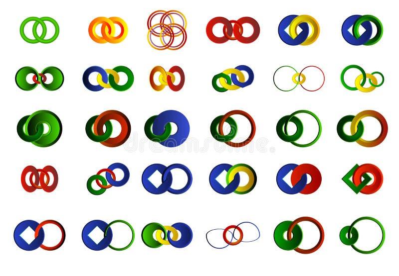 Ένα σύνολο 30 λογότυπων και εικονιδίων ελεύθερη απεικόνιση δικαιώματος