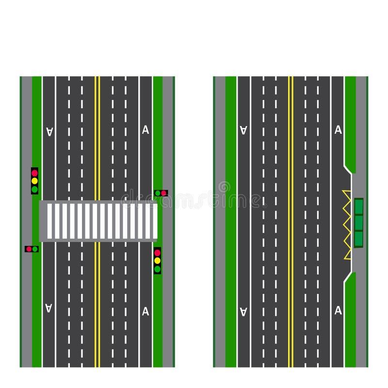 Ένα σύνολο οδικών τμημάτων Στάση μετάβαση Πορείες, πεζοδρόμια και διατομές ποδηλάτων επάνω από την όψη απεικόνιση απεικόνιση αποθεμάτων