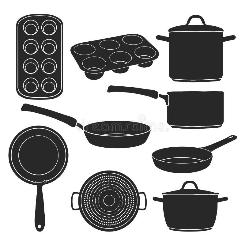 Ένα σύνολο σκιαγραφιών των εργαλείων κουζινών Μαύρες σκιαγραφίες των δοχείων, τηγάνια, φόρμες ψησίματος Εργαλεία για το μαγείρεμα ελεύθερη απεικόνιση δικαιώματος
