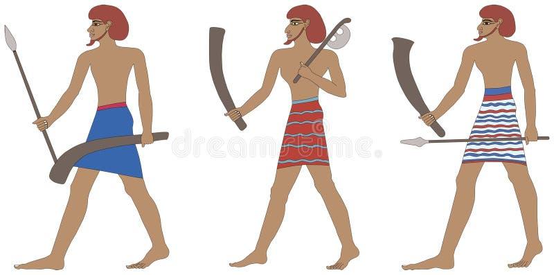 Ένα σύνολο τριών ιστορικών αιγυπτιακών στρατιωτών Πολεμιστές φαραονικού διανυσματική απεικόνιση