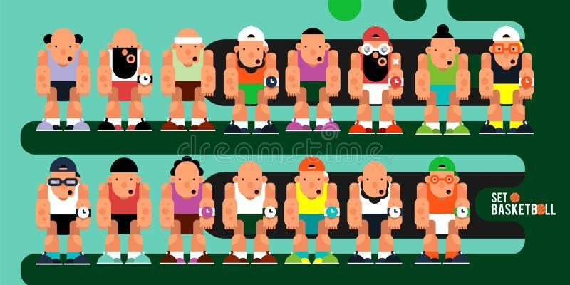 Ένα σύνολο χαρακτήρων παιχνιδιών Παίχτης μπάσκετ κινούμενων σχεδίων ομάδας για το MO απεικόνιση αποθεμάτων