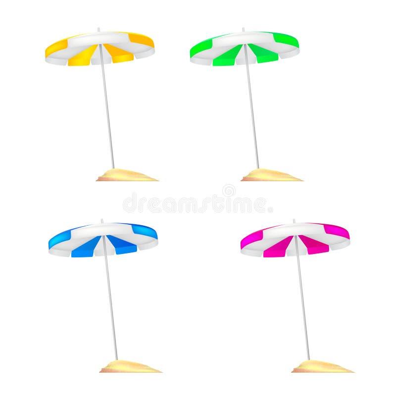 Ένα σύνολο χρωματισμένων ομπρελών παραλιών κόλλησε σε ένα μικρό ανάχωμα της χρυσής άμμου Ρεαλιστικές χρωματισμένες ομπρέλες με τι διανυσματική απεικόνιση
