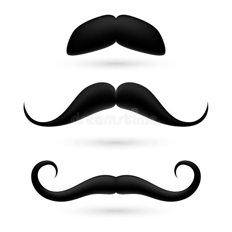 Ένα σύνολο moustache τρία διανυσματική απεικόνιση