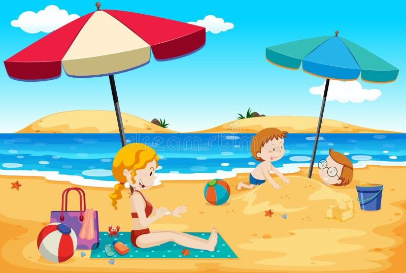 Ένα ταξίδι θερινής οικογένειας στην παραλία διανυσματική απεικόνιση