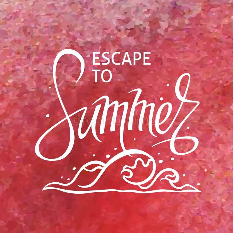 Ένα τετραγωνικό διανυσματικό υπόβαθρο με ένα κύμα θάλασσας Διαφυγή στο καλοκαίρι Ένα πρότυπο για μια αφίσα, κάρτα, ιπτάμενο απεικόνιση αποθεμάτων