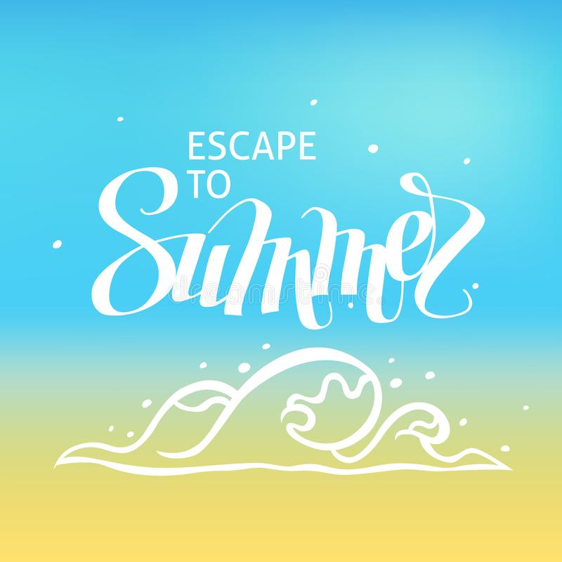 Ένα τετραγωνικό διανυσματικό υπόβαθρο με ένα κύμα θάλασσας Διαφυγή στο καλοκαίρι Ένα πρότυπο για μια αφίσα, κάρτα, ιπτάμενο διανυσματική απεικόνιση