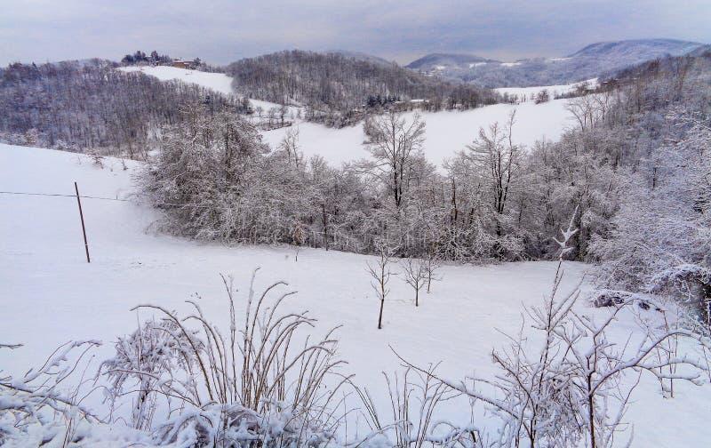 Ένα τοπίο βουνών με το χιόνι στοκ εικόνες με δικαίωμα ελεύθερης χρήσης