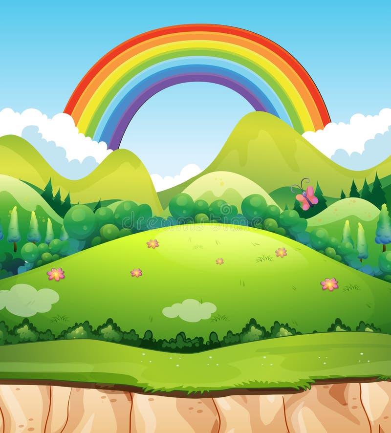Ένα τοπίο και ένα ουράνιο τόξο βουνών διανυσματική απεικόνιση