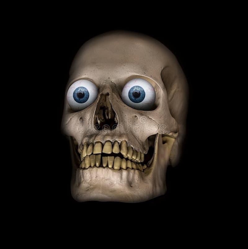 Ένα τρομακτικό ανθρώπινο κρανίο με τα μπλε μάτια διανυσματική απεικόνιση