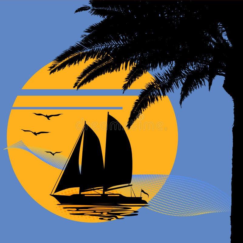 Ένα τροπικό βράδυ Ηλιοβασίλεμα με το φοίνικα και τη βάρκα απεικόνιση αποθεμάτων