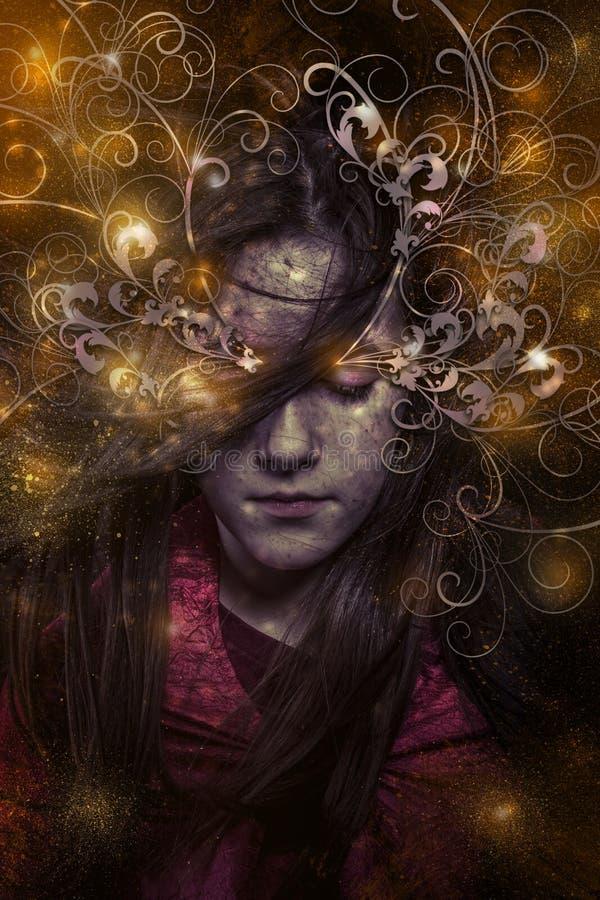 Ένα τρυφερό πορτρέτο ενός ονειροπόλου κοριτσιού με τα μάτια έκλεισε, φαντασία ομο στοκ εικόνα με δικαίωμα ελεύθερης χρήσης