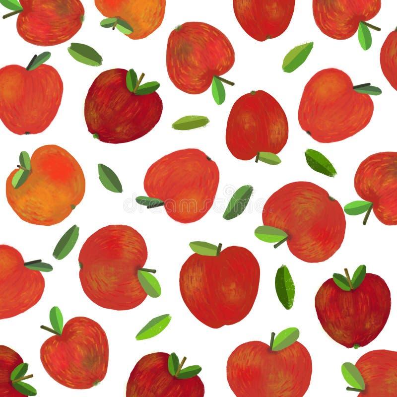 Ένα υπόβαθρο με τα φρέσκα κόκκινα μήλα απεικόνιση αποθεμάτων