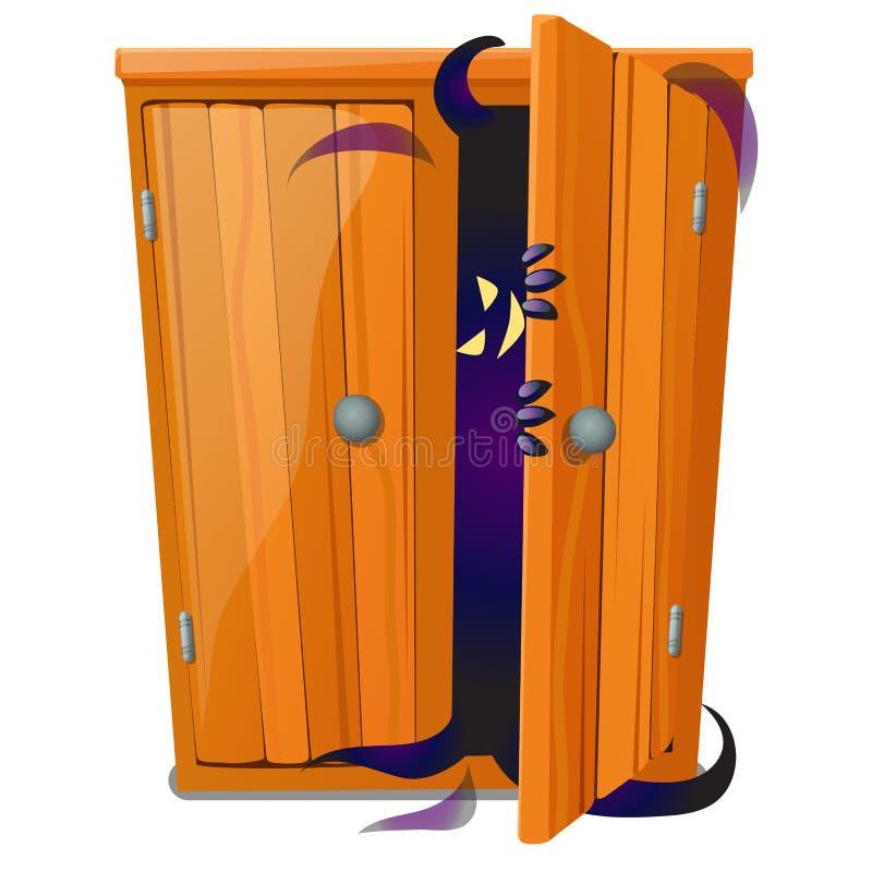 Ένα φάντασμα κρυφοκοιτάζει από το ντουλάπι που απομονώνεται στο άσπρο υπόβαθρο Σκίτσο για μια αφίσα ή κάρτα για τις διακοπές όλου απεικόνιση αποθεμάτων