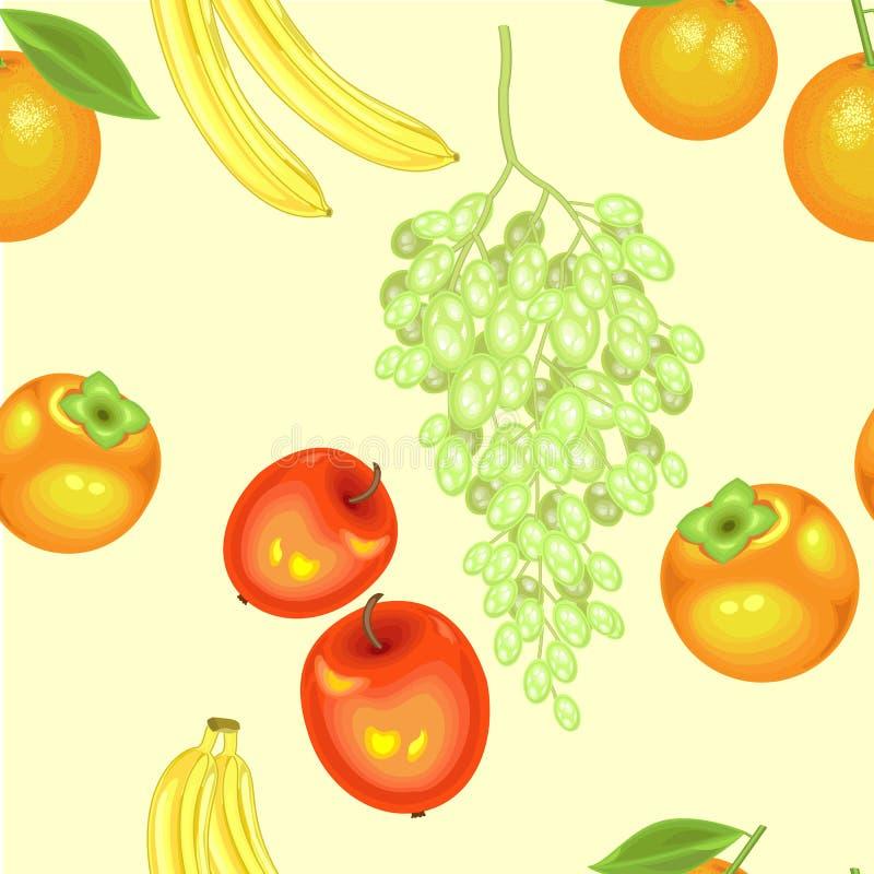 Ένα φανταχτερό σχέδιο Ώριμα όμορφα φρούτα Κατάλληλος ως ταπετσαρία στην κουζίνα, ως υπόβαθρο για τη συσκευασία των προϊόντων Δημι διανυσματική απεικόνιση