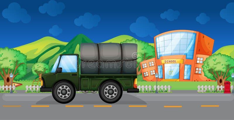 Ένα φορτηγό φορτίου κοντά στο σχολείο διανυσματική απεικόνιση