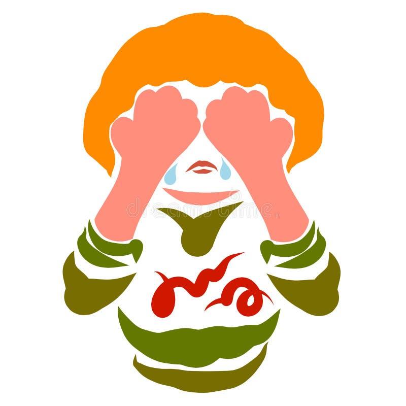 Ένα φωνάζοντας παιδί καλύπτει το πρόσωπό του με τα χέρια του ελεύθερη απεικόνιση δικαιώματος