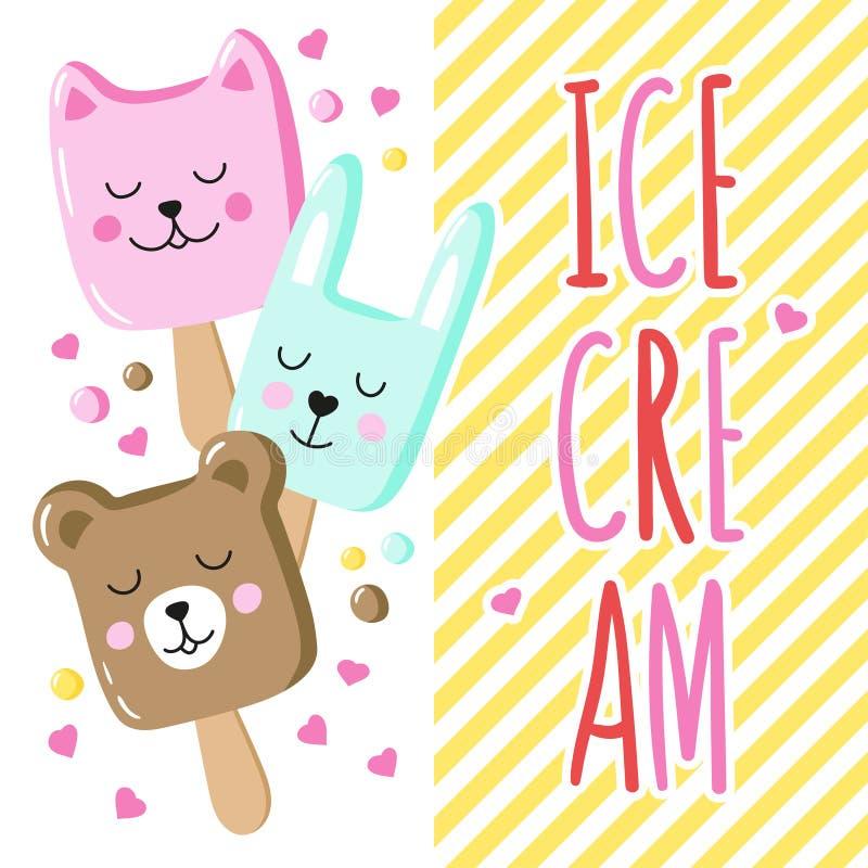 Ένα φωτεινό υπόβαθρο με ένα γοητευτικό ζωικό παγωτό και μια χειρόγραφη επιγραφή απεικόνιση αποθεμάτων