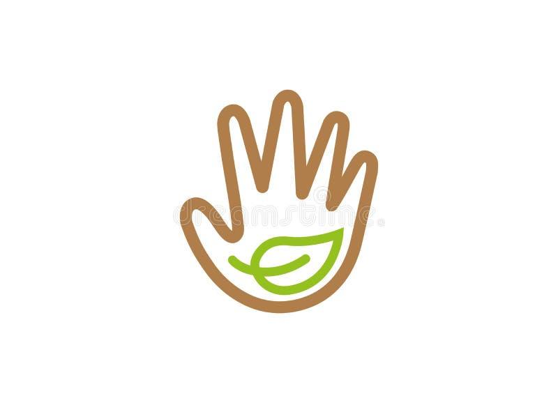 Ένα φύλλο μέσα στο χέρι για προστατεύει τα φυτά για το σχέδιο λογότυπων απεικόνιση αποθεμάτων